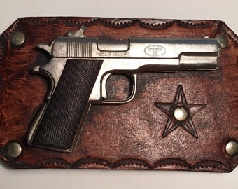 Western Leather Stamped Belt Buckle with Pistol