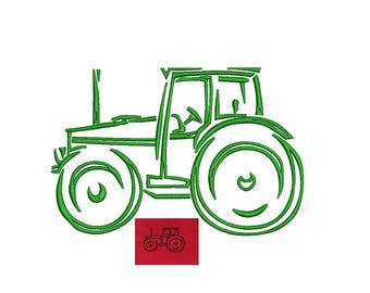Farm Tractor Embroidery Design - outline only sketch Tractor PES format instant download 4,5,6,7 inch