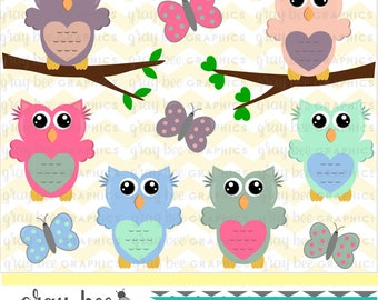 SALE- Owls & Butterflies Clipart Set, Commercial Use, Instant Download, Digital Clipart, Digital Images- CP203