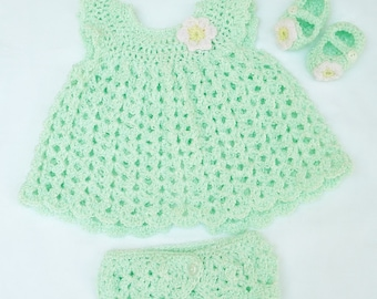 Coming home outfit, Baby Girl Outfit, Newborn Photos, Crochet Baby Set, Green Pink Baby Girl Clothes