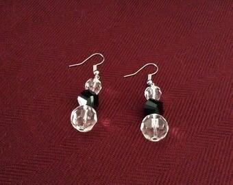 Earrings, Beaded Earrings, Clear and Black Faceted Earrings