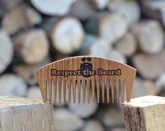 Respect the Beard. Wooden beard comb. Gift Ideas Unique. Anniversary Gifts For Men, fathers day gift Men, Fathers day gift from daughter