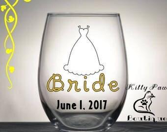 Custom // Bride Wine Glass