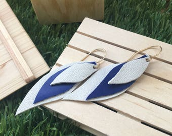 cascading leaves shaped leather earrings blue and white.
