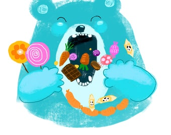 Very Hungry Little Bear downloadable illustration