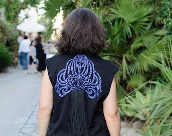 Handmade Black sleeveless embellished jacket