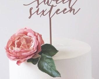 Sweet Sixteen Cake Topper//Laser Cut/Birthday