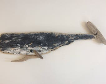 Painted Driftwood Whale
