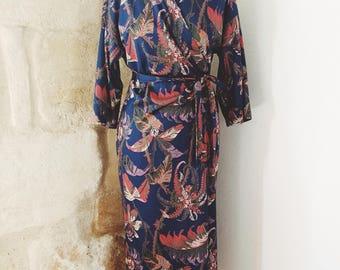 70s kimono dress wallet vintage floral boho style