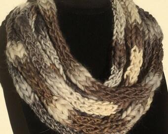 Neutral tone wool multi-strand scarf