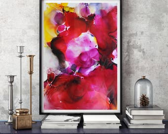 Abstract Painting, Red art, Wall Art, Art Print, Giclee Print, Prints, Home Art