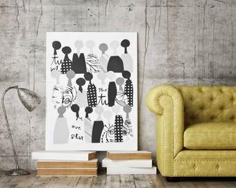 Printable wall art, printable, ethnic, ethnic art, New African, People art, Unity, People of Color