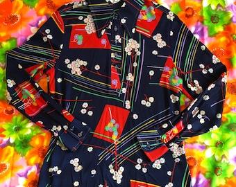 Vintage Abstract Geometric Floral Long Sleeve Nylon Pointy Dagger Collar Disco Shirt Flower Power Groovy Retro Rainbow Kitsch
