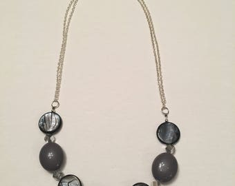 Gray and Silver Chain Necklace