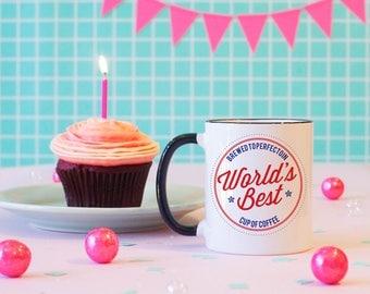 World's Best Cup of Coffee Break Black Rimmed Coffee Mug, Coffee Lover Mug, Coffee Addict Mug