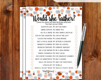 Would She Rather Bridal Shower Game - Orange Dots & Diamonds Printable Bridal Shower Game - Bachelorette Party Night Hen Party Game DD79-RG