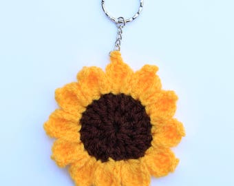 Crochet sunflower keyring