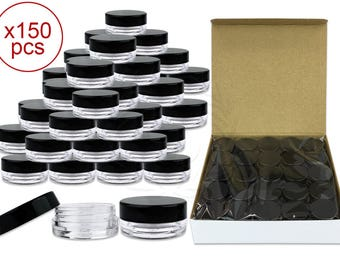 150 Pieces 3 Gram 3 ml Clear Round Plastic Small Sample Jars with Black Lids - Perfect for makeup glitter cream pigments Art Craft Supplies