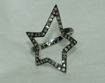 Victorian style 1.30ctw pave diamonds Star sterling silver oxidized ring - 2651709