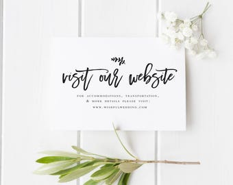 Wedding Website Card Insert Template Editable website card DIY wedding Website card Rustic Website Card Calligraphy Visit Our website #WP40
