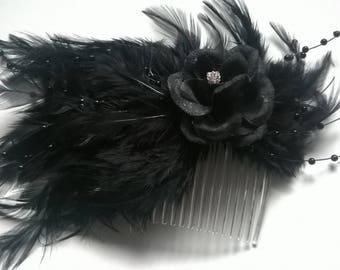 gothic black hair feather fascinator