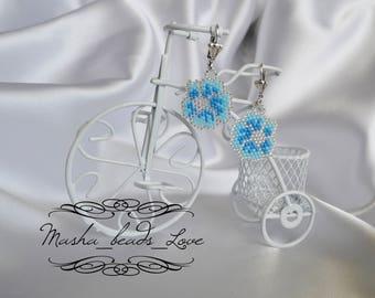 Blue Earrings Flower Silver Romance Jewelry