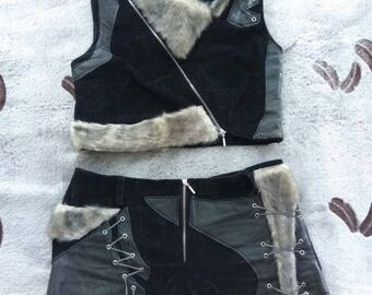 Winter tribal indian costume fur ethnic leather clothes