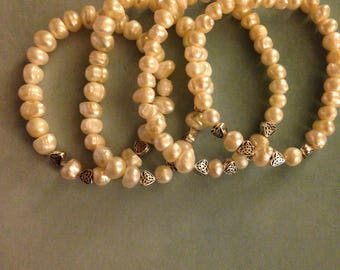 Pearl and silver plated heart bracelets