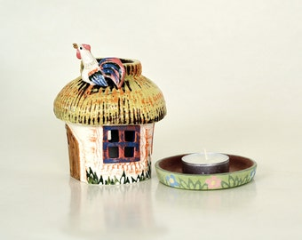 ceramic candle holder lantern aroma lamp ukrainian style house fairy house candle luminary home gift