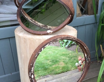 Reclaimed Industrial Steampunk Porthole Mirror