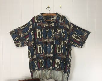 VINTAGE Patterned Button Up Shirt XL