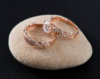 Unique wedding ring set women simple wedding ring set white gold diamond wedding ring set rose gold engraved ring set
