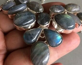 Labradorite necklace and silver, bohemian necklace, baroque, vintage necklace, boho-chic necklace. Labradorite bib necklace. Bib
