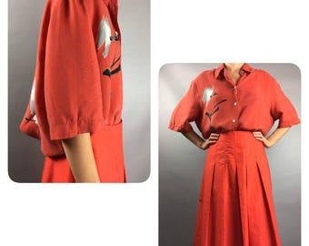 Silk bouse 1970s Vintage blouse Orange blouse Medium Womens shirt 70s blouse Fall blouse Gray shirt  Silk shirt Short sleeve blouse Boho top