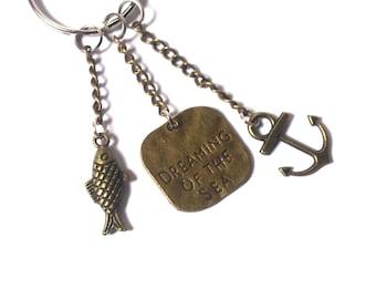 Keychain Anchor - Keychain Sea - Keychain Fish - Keychain Men - Keychain Bronze - Keychain Women - Gift