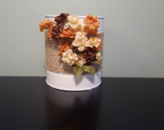 Rustic inspired tin can with flowers