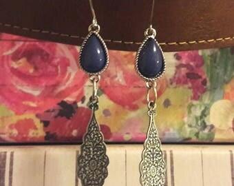 Blue Teardrop Dangle Earrings