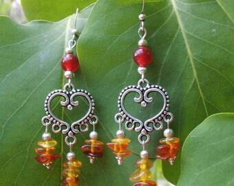 Amber and genuine carnelian earrings.