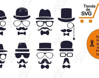 moustache svg, hat svg, monkey svg, glasses svg, bigotes svg, anteojos svg, Clipart, Digital design, files for cricut, svg english sir
