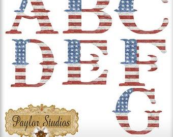 American Pride Monogram Digital Scrapbook Alphabet Clip Art