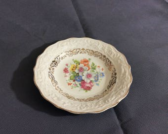Vintage Stetson Warranted 22 kt Gold Trimmed Dessert Bowl Multicolored Floral China 636R Made in USA