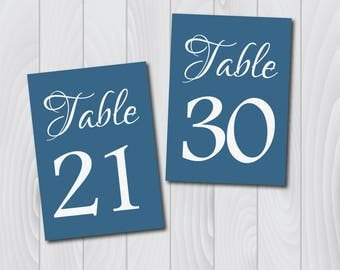 DIY PRINTABLE Blue 5x7 Wedding Table Numbers | Instant Download | Wedding Ceremony Reception Table Numbers | Blue Table Numbers Template