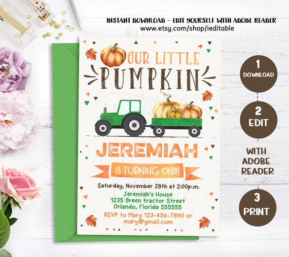 pumpkin invitation pumpkin first birthday invitation boy pumpkin