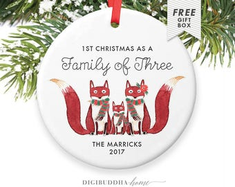 First Christmas as a Family of Three, 3 Foxes Ornament for New Parents, Christmas Gifts from Mom, Christmas Gift for Family with Kid Newborn