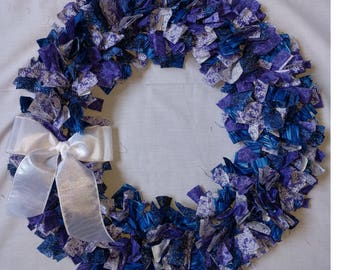 Blue and Purple Cloth Wreath
