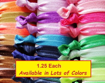 Hair Ties You Pick Your Colors No Crease Elastic Bands Hand Knotted and Sealed Ponytail Holder Teen Woman Accessories Lot Sports Yoga
