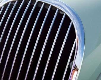 Jaguar Grill, vintage cars, classic cars, Jaguar, Classic Jag, jaguar XK120, photography, photo, instant download photography, wall art