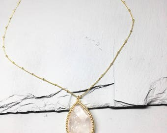 Handmade 16K Gold Plated Simple Faceted Natural Stone Teardrop Necklace