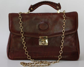 Vintage Distressed Brown Leather Messenger Bag/School Briefcase with gold tone chain strap/Retro business bag/ Briefcase style shoulder bag