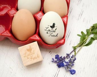 Egg Stamp - Chickens - Wooden Egg Stamp - Fresh Eggs Stamp - Farm Fresh Eggs - Chicken Coop - Homestead Stamp - Rubber Stamp - Local & Fresh
